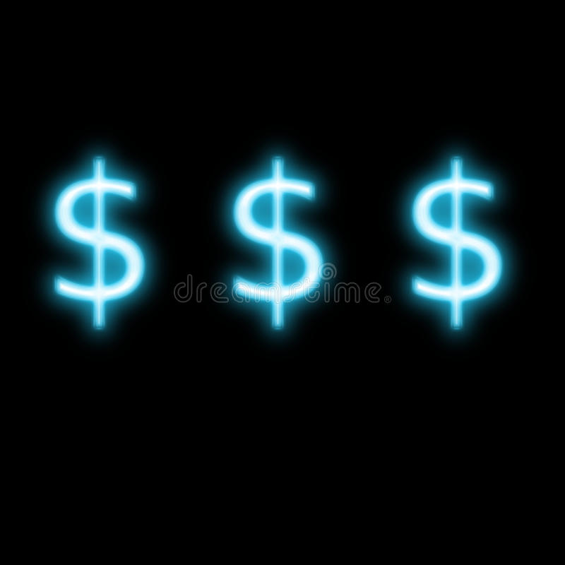 Dollars sign neon glowing royalty free stock photo