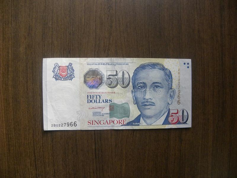 50 dollars Singapore banknote stock image