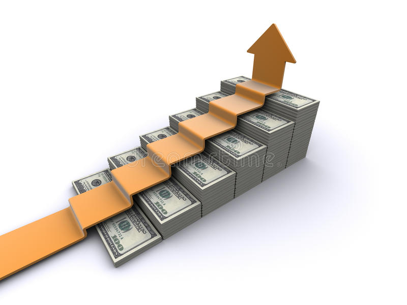 Dollars stairway stock illustration
