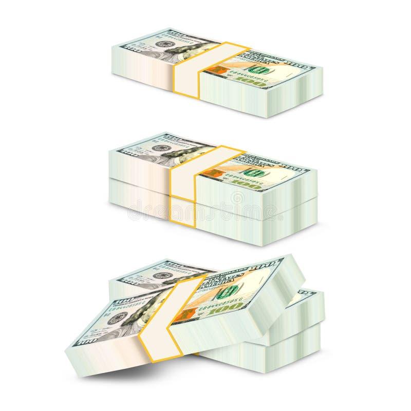 100 dollars, stapel bundels van 100 Amerikaanse dollars van 2013 stock illustratie