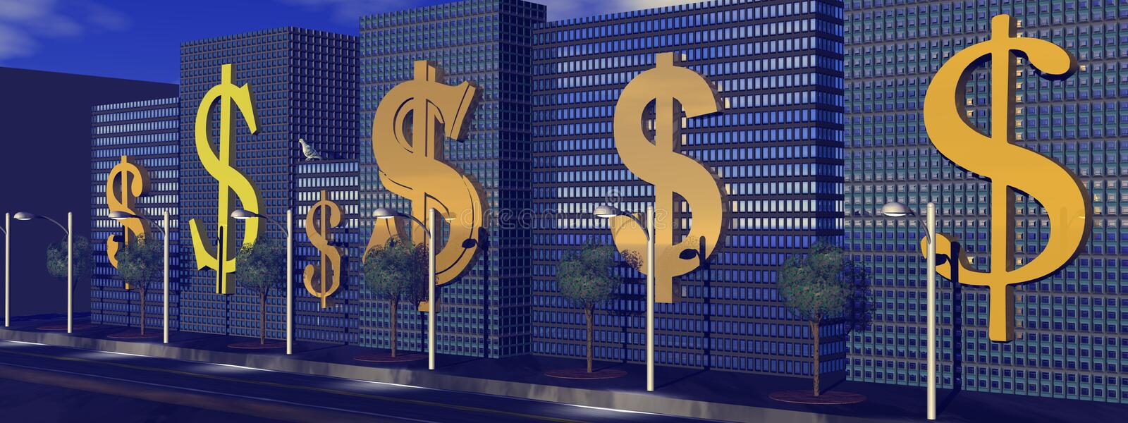 Download Dollars street to wealth stock illustration. Image of deal - 17093446