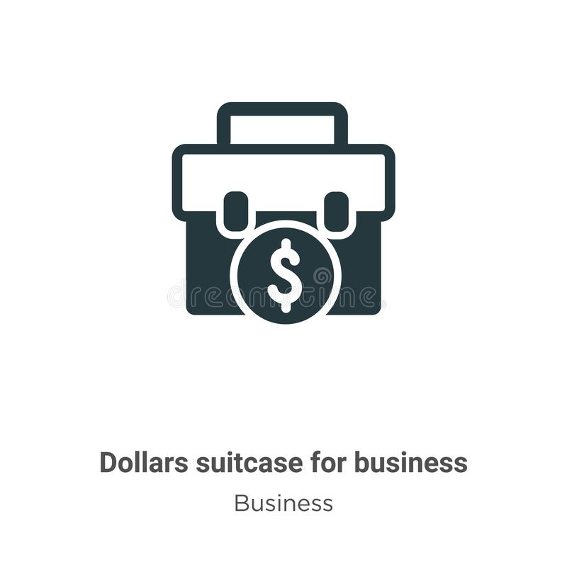 Dollars suitcase for business vector icon on white background. Flat vector dollars suitcase for business icon symbol sign from vector illustration