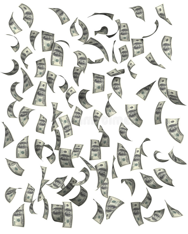 Dollars tombant sur le fond blanc photo stock