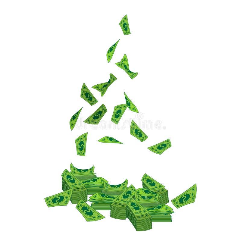 Dollars un paquet et une mouche d'en haut Sur le blanc illustration libre de droits