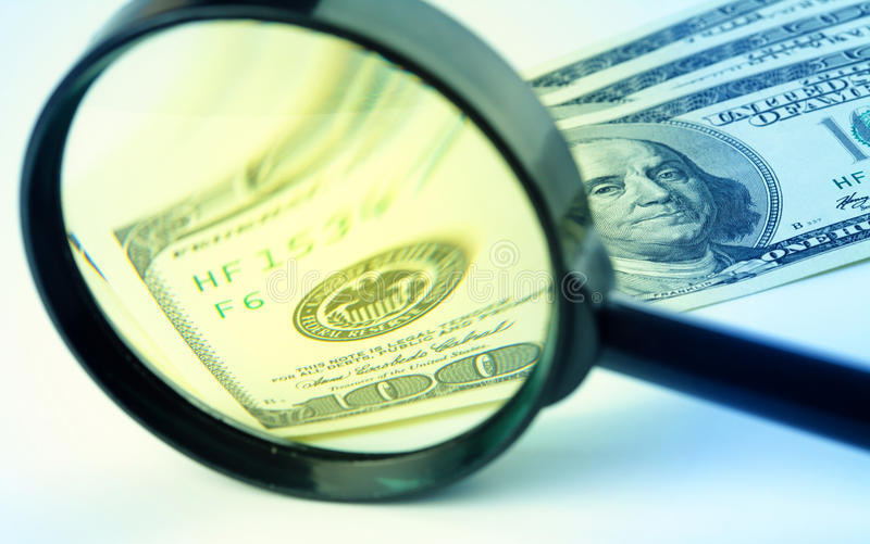 Download Dollars Under A Magnifying Glass Royalty Free Stock Photography - Image: 17957357