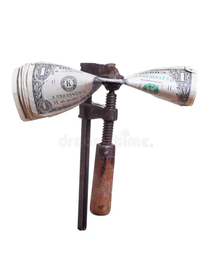 Download Dollars Under Pressure In Old Clamp Stock Image - Image: 28339321