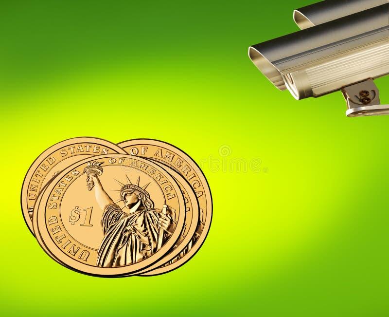 Dollars US d'or au foyer, affaires sous le contrôle illustration libre de droits