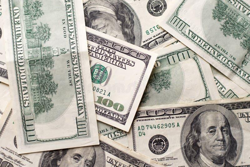 Dollars US de texture Fond de cent billets d'un dollar photographie stock