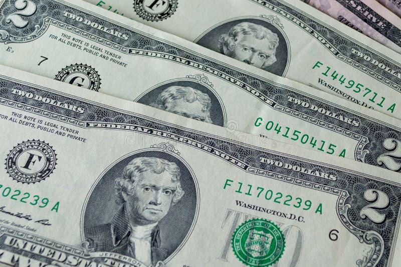 Dollars US : Haut étroit de factures de dollar US images libres de droits