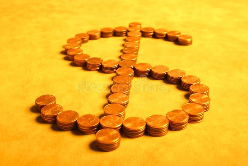 Dollars van centen stock foto's