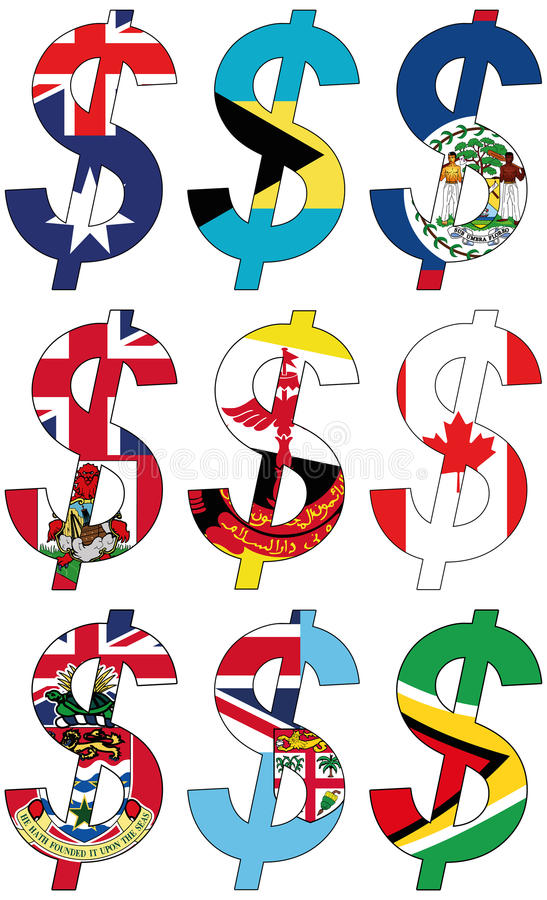 Dollars with various flags - set royalty free stock photography