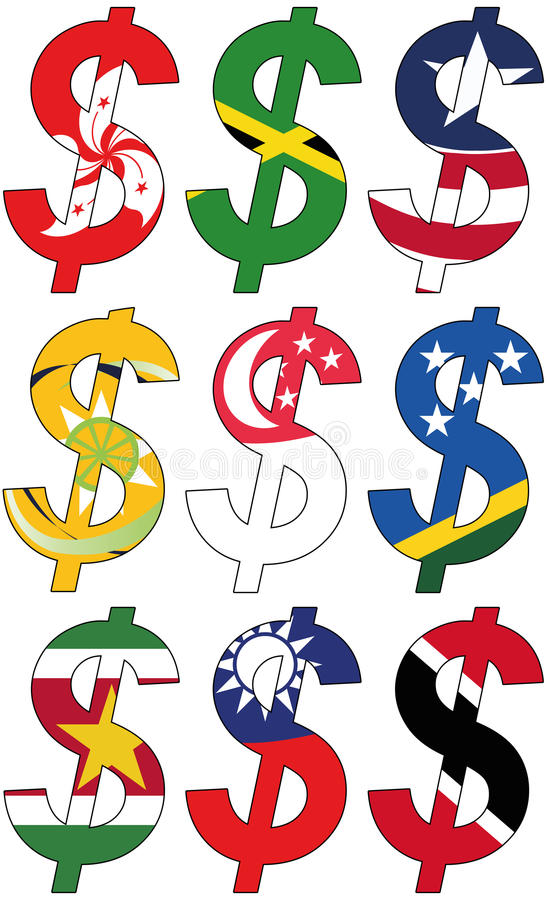 Dollars with various flags - set royalty free stock photo
