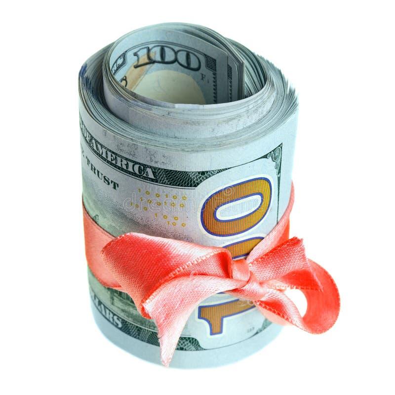 Dollars voor gift stock fotografie