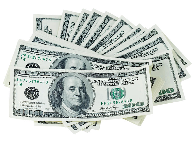 Dollars on a white background royalty free stock images