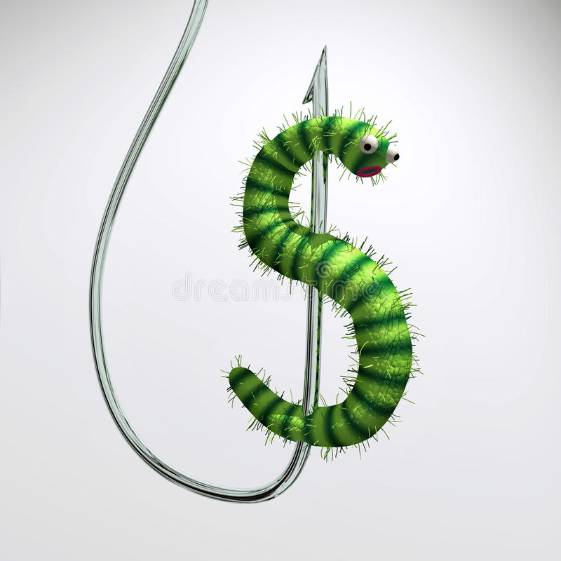 Download Dollars worm on hook stock illustration. Image of money - 11327037