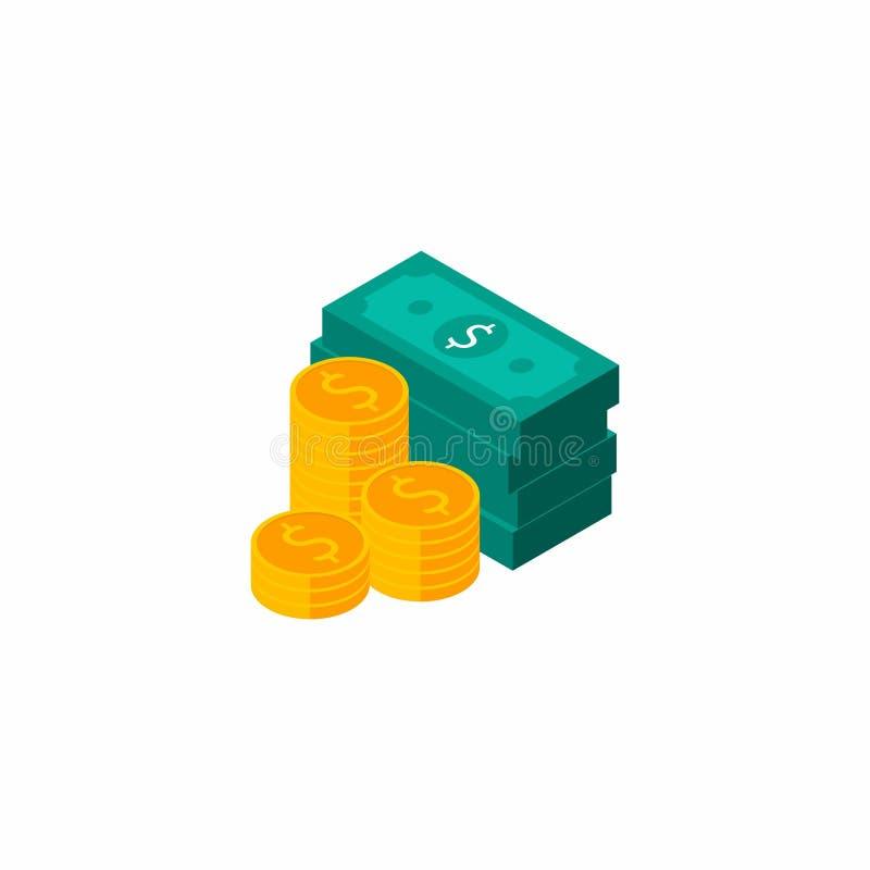 Dollarsbundels, Geld, Dollar, Stapel van geld, Isometrisch Muntstuk, Financiën, Zaken, Geen achtergrond, Vector, Vlak pictogram, royalty-vrije illustratie