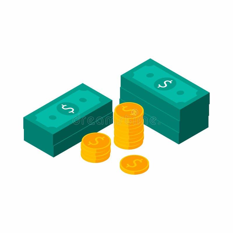 Dollarsbundels, Geld, Dollar, Stapel van geld, Isometrisch Muntstuk, Financiën, Zaken, Geen achtergrond, Vector, Vlak pictogram, stock illustratie