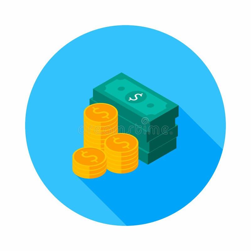Dollarsbundels, Geld, Dollar, Stapel van geld, Isometrisch Muntstuk, Financiën, Zaken, Vector, Vlak pictogram, Gouden stapel dol vector illustratie
