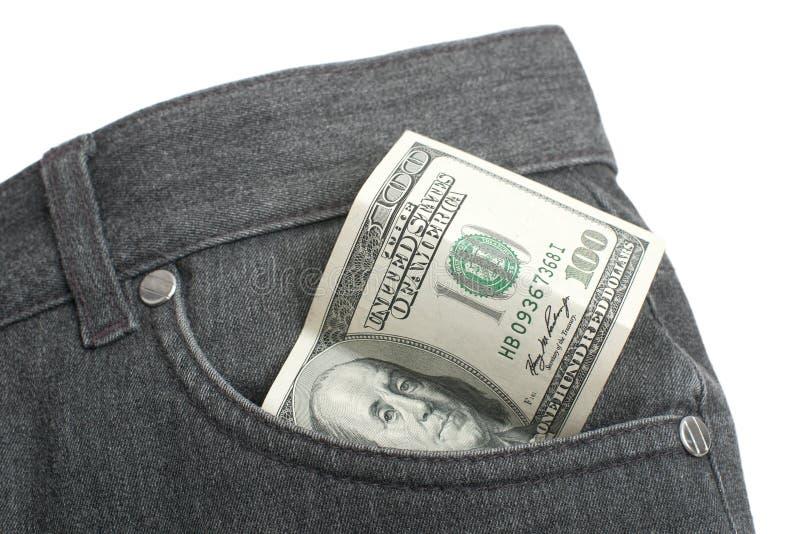 Dollarschein in der Tasche stockfotos