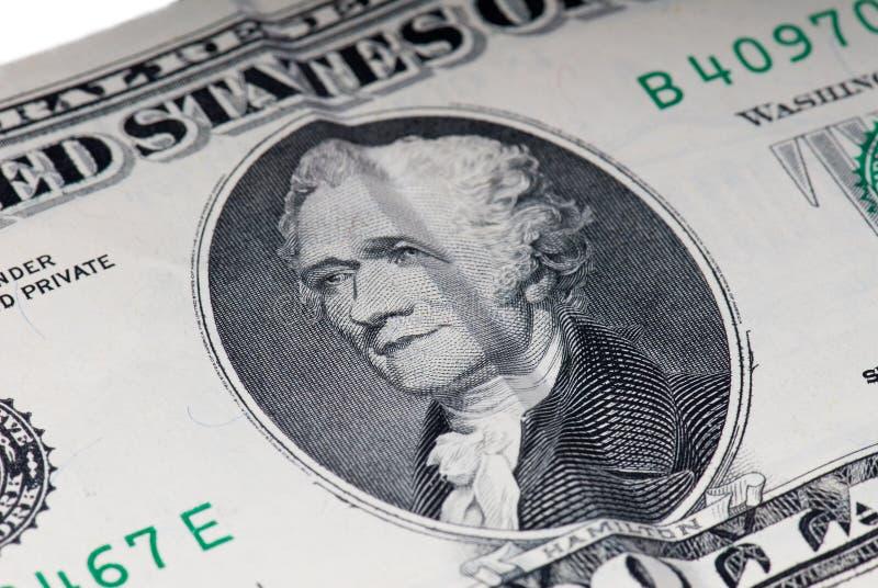 Dollarschein Hamilton-US 10 stockfotos