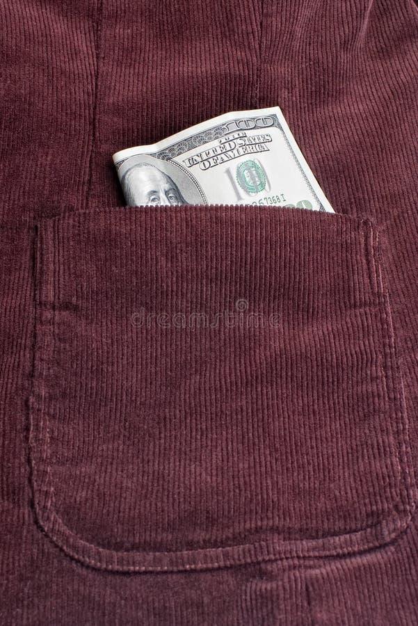 Dollarschein innerhalb der Tasche lizenzfreie stockfotos