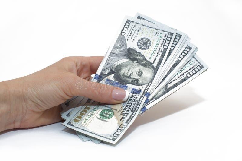 Dollarscheine in der Hand lokalisiert auf Weiß, Geld lizenzfreies stockbild