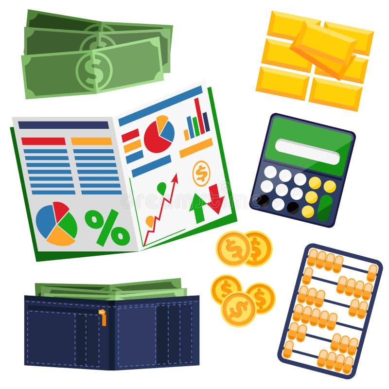 Dollarscheine, Taschenrechner, lederne Geldbörse und Gold vektor abbildung