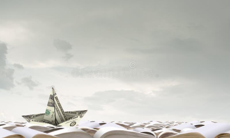 Dollarschiff im Wasser stockbilder