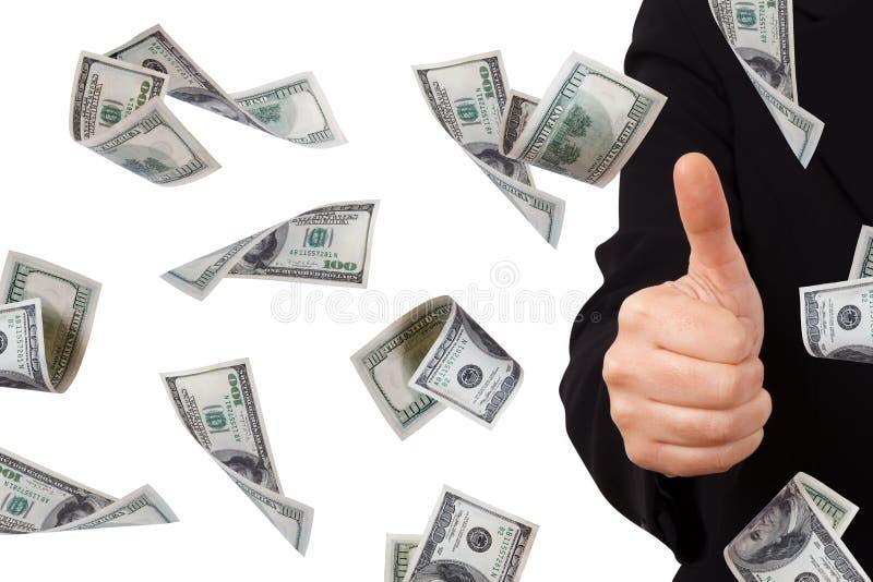 Dollarsedlar med bekräftelsetecknet av affärskvinnan arkivfoto