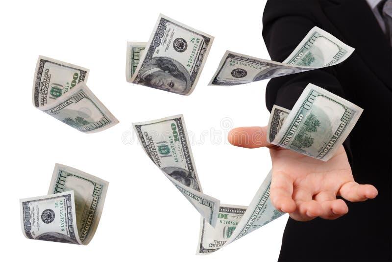 Dollarsedlar på ung affärskvinna royaltyfri bild