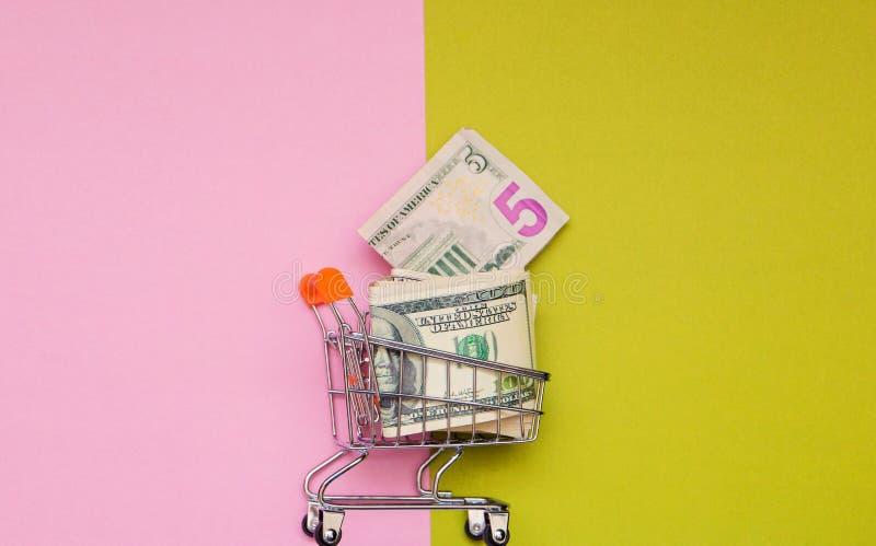 Dollarsgeld in boodschappenwagentje op groene roze achtergrond met exemplaarruimte stock foto
