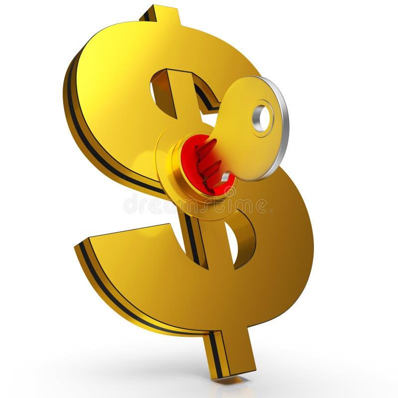 Dollarsleutel die Besparingen en Financiën tonen stock illustratie