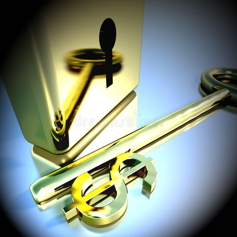 Dollarsleutel met Gouden Hangslot die Bankwezenbesparingen 3d Renderin tonen stock illustratie