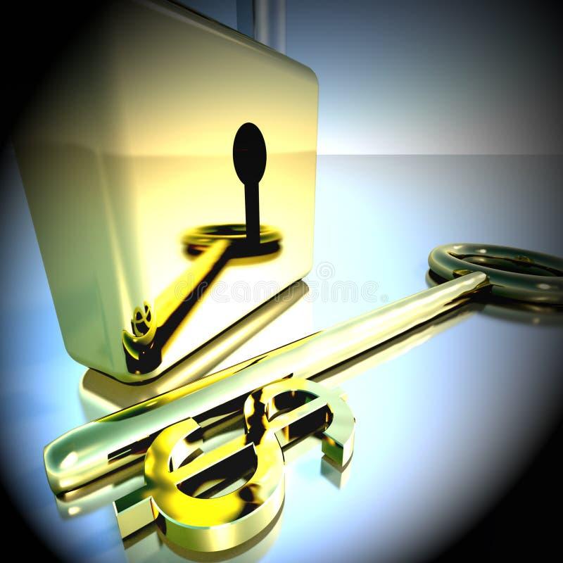 Dollarsleutel met Hangslot die Bankwezenbesparingen het 3d Teruggeven tonen royalty-vrije illustratie