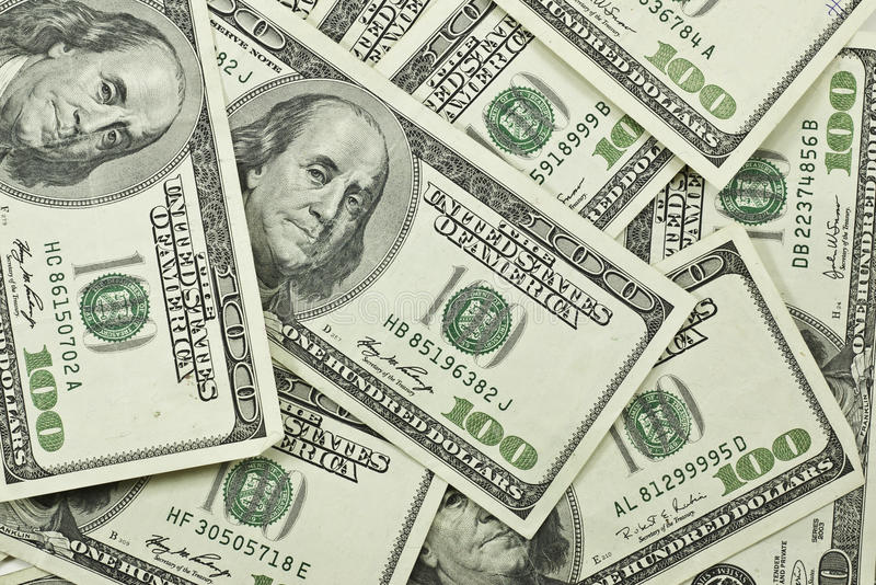 dollarstapel för 100 bills royaltyfri fotografi