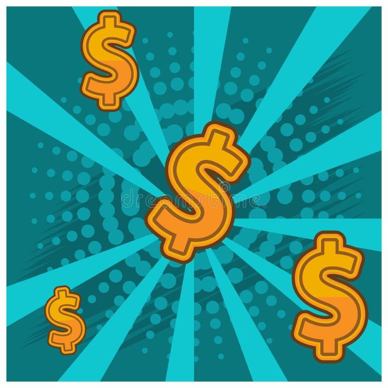 Dollarsteken op groene achtergrond Vlak Ontwerp royalty-vrije illustratie