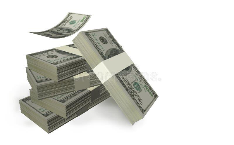 Dollarswastroggen die in het witte vliegen worden geïsoleerd als achtergrond royalty-vrije illustratie