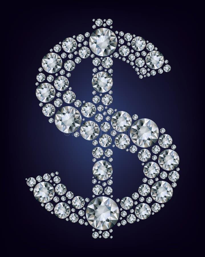 Dollarsymbol in den Diamanten. lizenzfreie abbildung