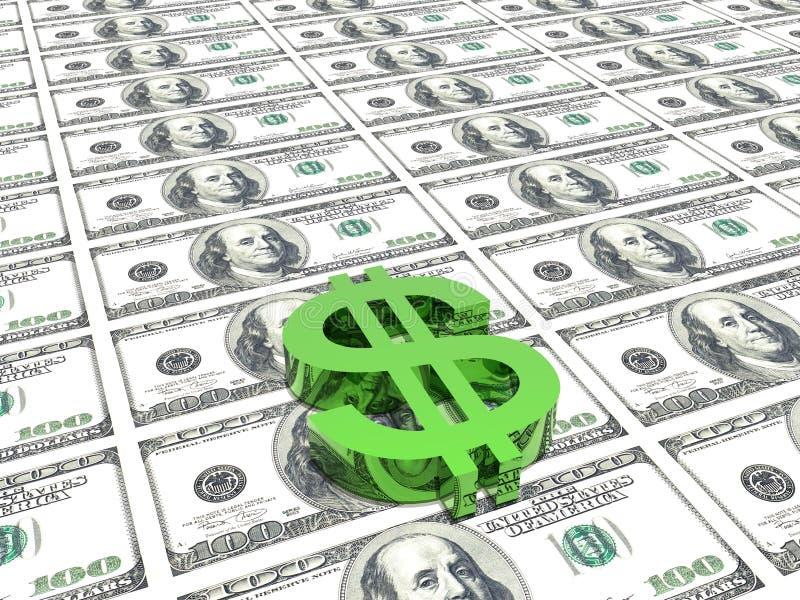 Dollarsymbol im Geldhintergrund vektor abbildung