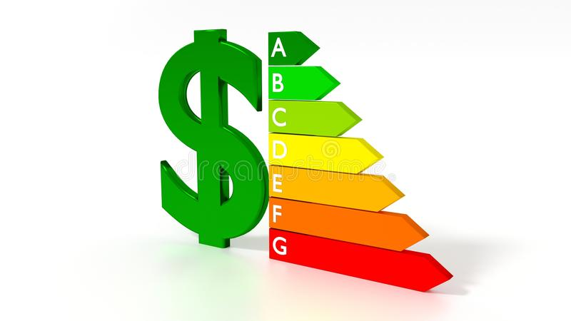 Dollarsymbol nahe bei einem Energieeffizienzdiagramm vektor abbildung