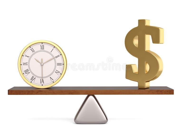 Dollarsymbol och klocka på jämvikt över den vita illustrationen för bakgrund 3D stock illustrationer