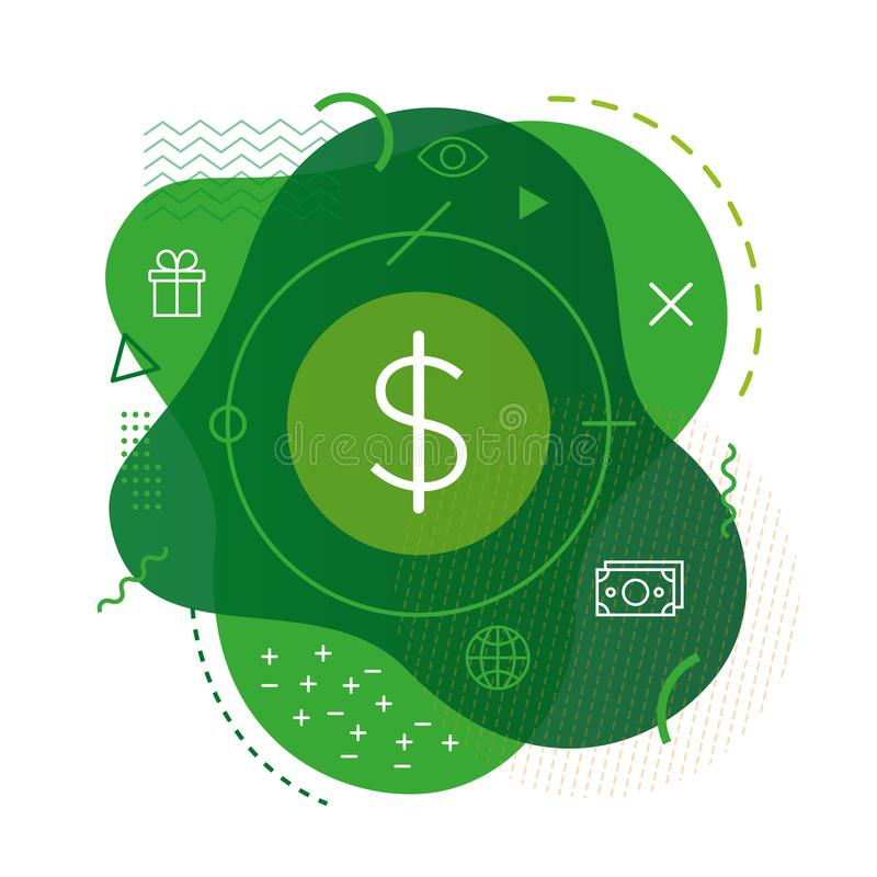 Dollarsymbol på modern bakgrund stock illustrationer
