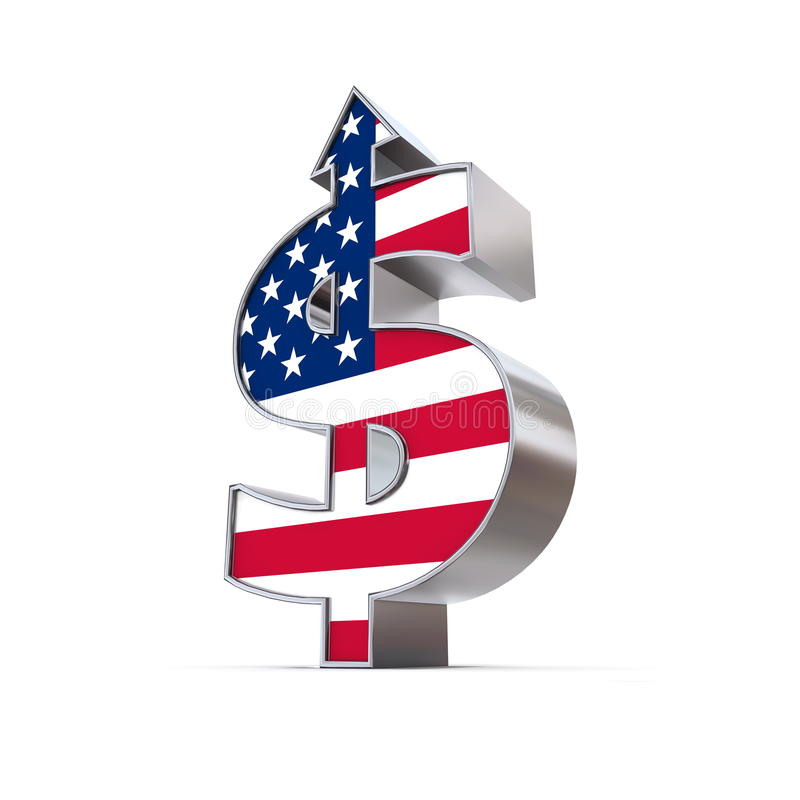 Dollarsymbolpil upp - United States Flag royaltyfri illustrationer