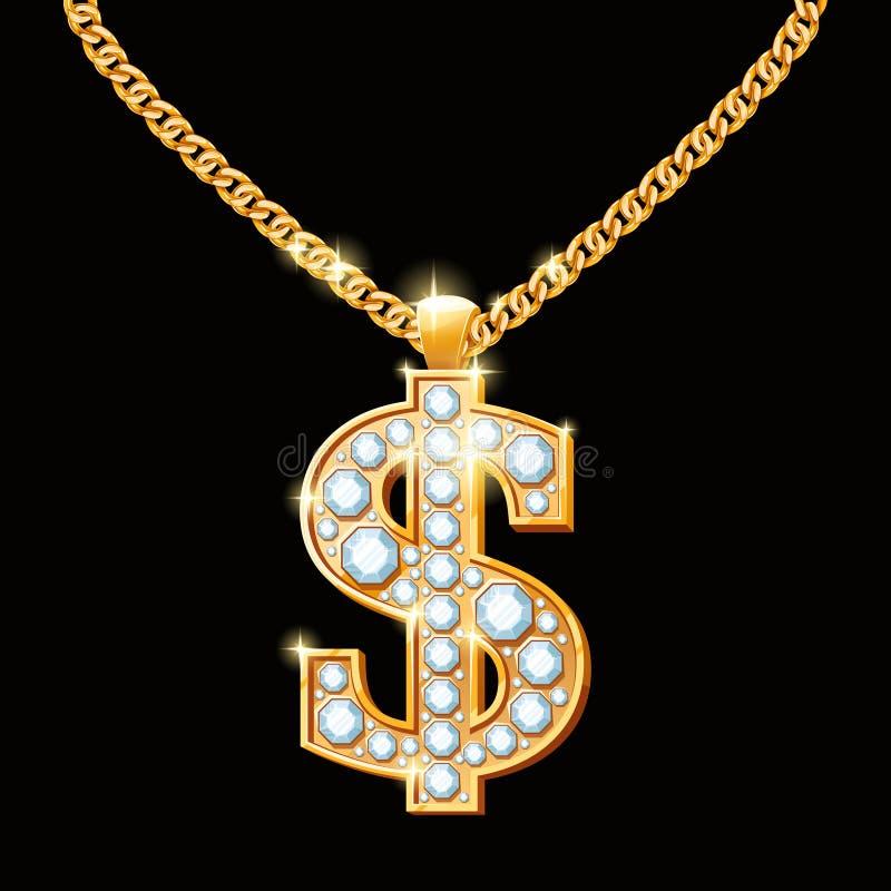 Dollartecken med diamanter på guld- kedja Höft-flygtur vektor illustrationer