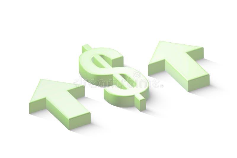 Dollartecken med gröna pilar på isolerad vit bakgrund royaltyfri illustrationer