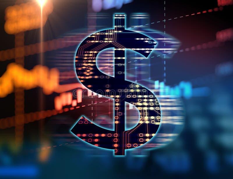 Dollartecken på abstrakt finansiell teknologibakgrund vektor illustrationer