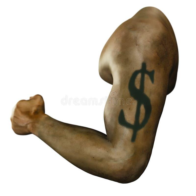 Dollartecken som tatueras över bicepen av en tränga sig in man royaltyfri bild