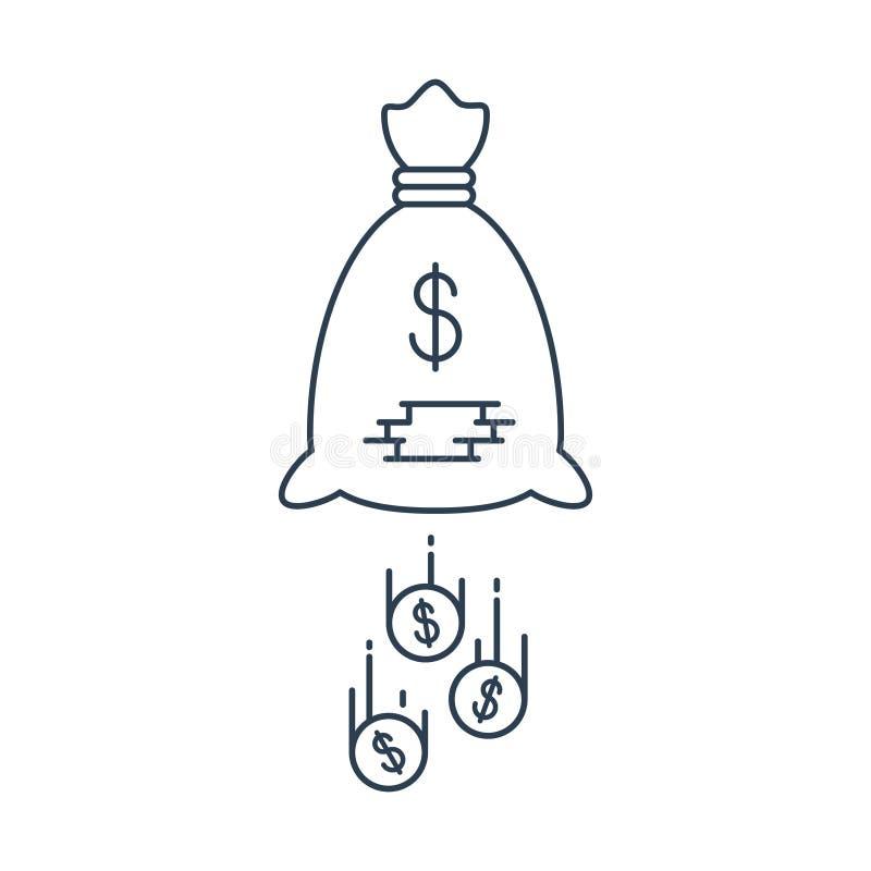 Dollartecken under paraplyet som isoleras på vit bakgrund Pengarförluster royaltyfri illustrationer