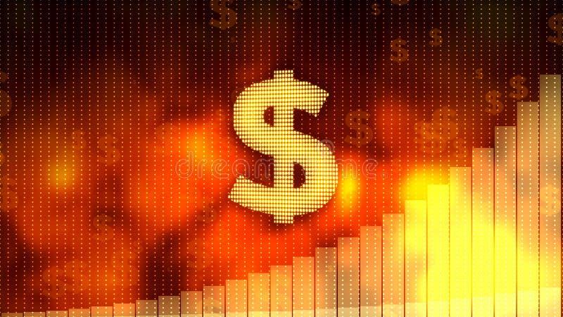 Dollarteken, de grafiek van de muntgroei op rode achtergrond, financiële voorkomen crisis vector illustratie