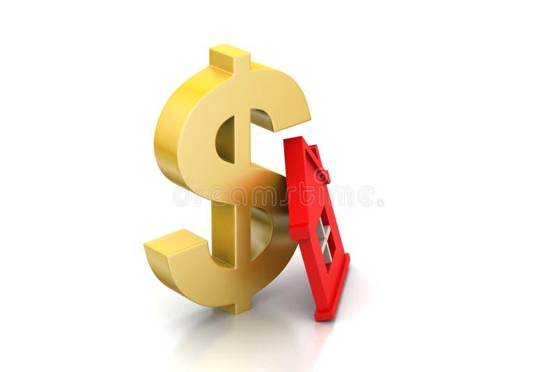 Dollarteken met huis royalty-vrije illustratie